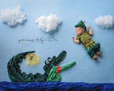 crocodile Peter Pan fairy funny adorable hilarious unique newborn boy Precious Baby Photography Baby ImaginArt by Angela Forker Fort Wayne New Haven Indiana