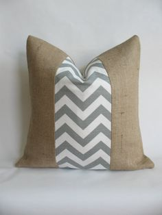 "18""x18"" Grey Chevron Indoor or Outdoor Fabric and Burlap Pillow Cover on Etsy, $26.00"