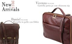 Check out our New Arrivals - Tuscany Leather Italian leather bags!  DANIEL Leather shoulder bag with front straps VICENZA Leather laptop briefcase with zip closure