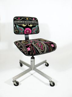 Suzani Office Chair  Abstract Blooming Floral  by MaterialRecovery, $465.00