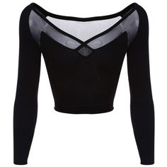 Black Long-Sleeve Sheer Mesh Back Crop Top and other apparel, accessories and trends. Browse and shop related looks. Black Long Sleeve Shirt, Mesh Long Sleeve, Long Sleeve Tops, Long Sleeve Shirts, Cropped Tops, Black Crop Tops, Girls Fashion Clothes, Fashion Outfits, Women's Fashion