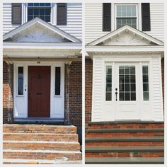 New steps and enclosed front entry Residential Contractor, Front Entry, Next At Home, Construction, Outdoor Decor, Instagram, Building, Welcome Door, Front Door Porch