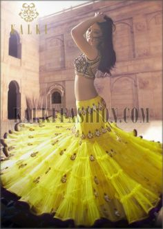 Yellow lehenga with antique embroidery by Kalki