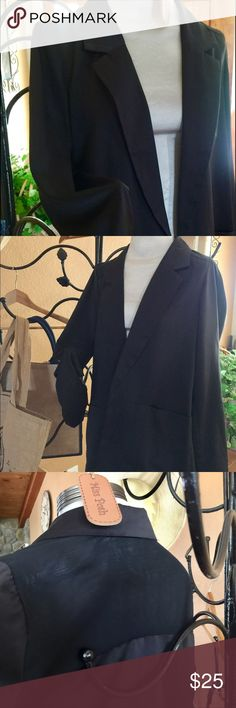 Blazer in beautiful Satin and Sheer feel This silky black blazer in S gives any blouse or dress an instant professional or evening look combined! 100% polyester with Satin feel and sheer back. Buttonless with pockets. Imagine the options! Color is true on the last picture before tag. New with no tags. Metaphor Jackets & Coats Blazers