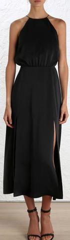 Picnic Sueded Halter Dress, Black or Blush Pink