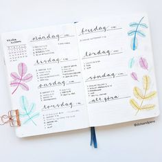 Bullet journal weekly layout, hand lettering, plant drawings. | @dotsandpens