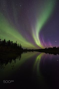 Mirrored northern lights by Gunar Streu on 500px