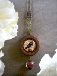 Owl necklace Forest necklace Red moss jewelry by TriccotraShop