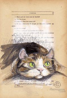 GIZMO- VENDU - Peinture, 20,2x29,8 cm ©2015 par evafialka - Art figuratif, Impressionnisme, Papier, Animaux, Chats, chat, cat, cat nap, sieste, eyes, yellow eyes, yeux de chat