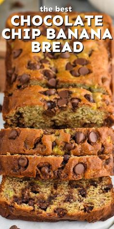 This Chocolate Chip Banana Bread is an easy spin on the class, and so very good. Strawberry Banana Bread, Banana Chocolate Chip Muffins, Make Banana Bread, Mini Chocolate Chips, Banana Bread Recipes, Best Chocolate, Baking Recipes, Snack Recipes, Brunch Recipes
