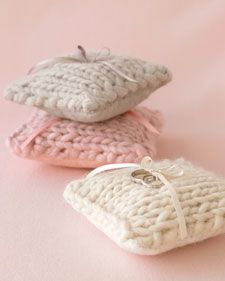 Adorable knit ring bearer pillows perfect for a handmade inspired wedding.