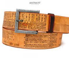 Vintage ENCYCLOPAEDIA belt for women and men by BackbeatLeather, £37.00