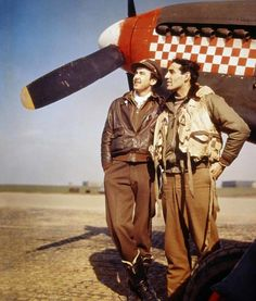 Lieutenant John Godfrey (left) and Capt. Don Gentile of the 4th Fighter Group made a lethal pair when they went hunting over Europe. Together they accounted for thirty-seven victories and were the most famous pair of pilots flying Mustangs during World War II. National Archives