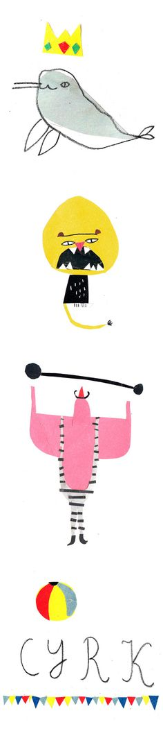 artist/illustrator agata krolak (the circus!) - gosh i wish i would have thought of this! check out the yellow monster Design Graphique, Art Graphique, Children's Book Illustration, Character Illustration, Magazine Illustration, You Draw, Art Plastique, Collages, Collage Art