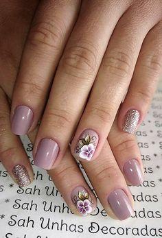 Manicure And Pedicure, Gel Nails, Acrylic Nails, Colorful Nail Designs, Cute Nail Designs, Shellac Designs, Nail Length, Glitter Nail Art, Purple Nails