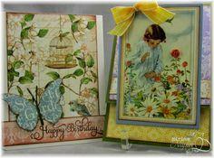Miriam's Delirium cards made with Graphic 45 - My Secret Garden paper