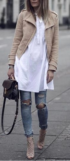 street style outfit jacket + long shirt + rips + heels
