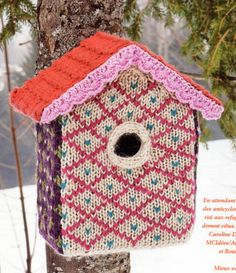 Knitted birdhouse from #Marie #Claire #Idees