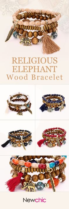 [Newchic Online Shopping] 49% OFF Religious Elephant Wood Bracelet