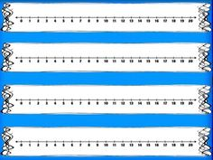 Number Lines 0-20 These are great for your math resource bin and they are FREE!  These number lines come in blue, yellow, red, orange, green and black/white.  Just print, laminate and cut!