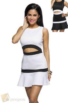 Sommerkleid Freizeitkleid Mini Schwarz Weiß Elegant Luxus Apropos