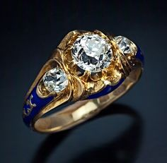 An Antique Engagement Ring Gold, Diamond & Enamel - This three stone Victorian era diamond ring was made in St Petersburg in during the reign of Tsar Nicholas I. It is a very rare early dated Russian engagement ring. Engagement Ring Guide, Three Stone Engagement Rings, Antique Engagement Rings, Diamond Engagement Rings, Victorian Jewelry, Antique Jewelry, Vintage Jewelry, Victorian Era, Ancient Jewelry