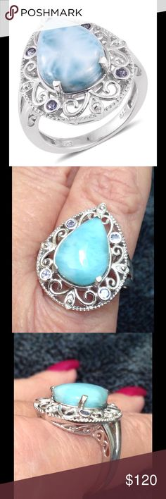 Larimar, Tanzanite TGW 9.0 CTs. Larimar, Tanzanite TGW 9.0 CTs. This is a beautifully done ring featuring a gorgeous pear cut gem accented with prized Tanzanite interspersed in the setting. Platinum Over .925 Sterling Silver Nickel Free. (Size 8.0) TGW 9.0 CTs. Both gems are 100% natural and one source gems. Both of the gems are dramatically increasing in price and availability. Larimar is said to be 20,000 X rarer than diamonds. Jewelry Rings