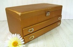 Vintage Glamorous Gold Buxton Jewelry Box  Retro 4 by DivineOrders, $62.00