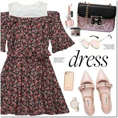 Floral  Dress by oshint on Polyvore featuring moda, Miu Miu, Skinnydip, Bobbi Brown Cosmetics, MAC Cosmetics and Guerlain