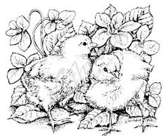 Northwoods Rubber Stamps - Wood Mounted - Chicks in Violets