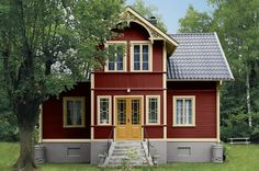 such a beautiful stuga Cottage Exterior, House Paint Exterior, Exterior House Colors, Interior And Exterior, Swedish Cottage, Red Cottage, Swedish House, This Old House, Red Houses