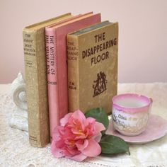 Darling Vintage Book Set of Three in Pink and Cream $45.00 #thebellacottage #shabbychic #vintage #homedecor