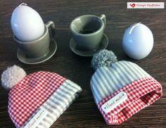 EIERWÄRMER handmade 100% Baumwolle Ostern  Muttertag LANDHAUS mit Bommel 2 Stück