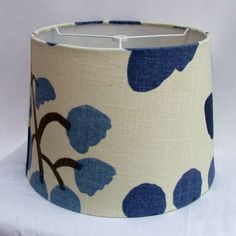 Drum Shade Navy and White -Screen Print Botanical Lampshade - Custom Home Decor. $52.00, via Etsy.