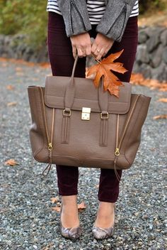 If you can get last that ugly bag, the snake print shoes the colored pants and the stripes are fierce together! Cute Purses, Purses And Bags, Sweater Weather, Chloe Rose, Chloe Bag, Autumn Winter Fashion, Fall Fashion, Fashion 101, Fashion Bags