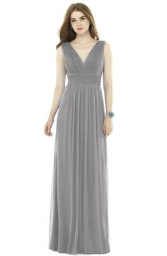 New Alfred Sung V-Neck Pleat Chiffon Knit A-Line Gown, Blue Haze Crosshatch fashion dress online. [$210]>>newtopfashion Shop fashion 2017 <<