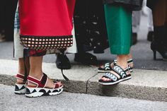 """60 Head-To-Toe-Amazing Street Style Snaps From Milan Fashion Week #refinery29  http://www.refinery29.com/2015/09/94857/milan-fashion-week-spring-2016-street-style-pictures#slide-35  """"Let's both wear our ugly-cute sandals today.""""..."""