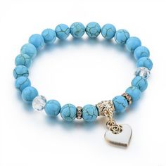 7 Colors Choices - Natural Stone Bracelet with Gold Heart