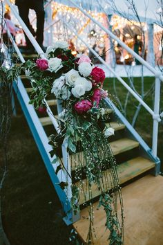 Floral tidbits on the stairs. Flowers by Carolyn Collison. Photography by Cavanagh Photography.