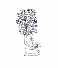Dad and I have different flowers or herbs coming out of head? Art Sketches, Art Drawings, Frida Art, Head Tattoos, Dope Art, Future Tattoos, Art Inspo, Art Photography, Illustration Art