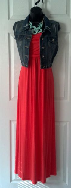 The Strapless Maxi in Coral is a best seller, great for the spring, and can transition great into fall with a denim jacket or cute cardigan.