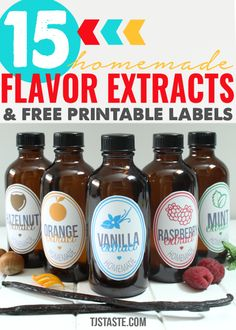 15 Flavor Extract Recipes + Free Printable Labels Homemade flavor extracts are easy and inexpensive to make at home. They're great to make for your own personal use to save money and ensure pure ingredients plus they're excellent to make in bulk to Vanilla Coffee Creamer, Homemade Coffee Creamer, Coffee Creamer Recipe, Vanilla Extract Recipe, Cinnamon Extract, Coconut Extract Recipes, Lemon Extract, Homemade Spices, Homemade Seasonings