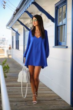 Summer Dress 017 casual Plus Size Women Clothing Long sleeve solid color Chiffon V Dress Vestidos Beach Dress Loose neck dress Blue Summer Dresses, Blue Dresses, Short Dresses, Mini Dresses, Beach Dresses, Loose Dresses, Dress Summer, Dresses 2016, Dress Beach