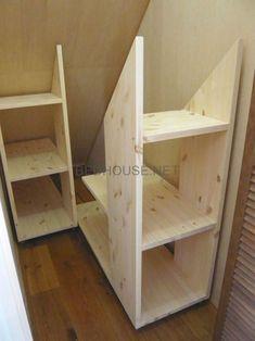 Under stairs storage? Under stairs storage? Attic Storage, Storage Stairs, Under Stair Storage, Eaves Storage, Garage Storage, Storage Room, Stair Shelves, Garage Attic, Smart Storage