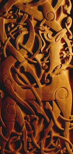 Detail of Urnes stave church carvings. Norway, mid 11th century.