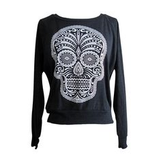 Day of the Dead Raglan Sweater - Sugar Skull American Apparel SOFT vintage feel - Available in sizes S, M, L on Etsy, $25.00