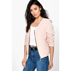 Boohoo Emily Woven Bomber Jacket ($35) ❤ liked on Polyvore featuring outerwear, jackets, pink, puffy jacket, puffer jacket, pink bomber jacket, flight jacket and wrap jacket