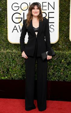Kathryn Hahn Suit: Brandon Maxwell Golden Globe Awards 2017, Kathryn Hahn, Red Carpet Looks, Red Carpet Dresses, Golden Globes, Red Carpet Fashion, Fashion 2017, Womens Fashion, Outfits