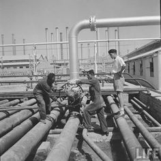 British foreman supervising to workers in Abadan refinery 1950's Credit: Dmitri Kessel