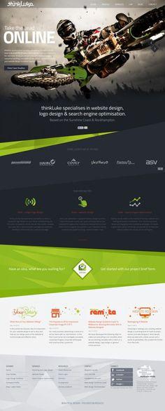 Website Design: Sunshine Coast - Web Design and Logo Design - thinkLuke Diagonals are very active, color scheme helps structure hierarchy Web Layout, Layout Design, Mise En Page Web, Template Web, Templates, Website Design Inspiration, Design Ideas, Responsive Layout, Interface Design